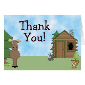かわいいアメリカヘラジカ、森林動物および小屋は感謝していしています カード