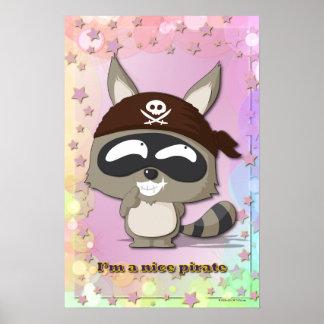かわいいアライグマのおもしろいな漫画のかわいいの海賊ポスター ポスター