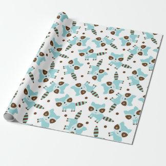 かわいいアライグマの包装紙 ラッピングペーパー