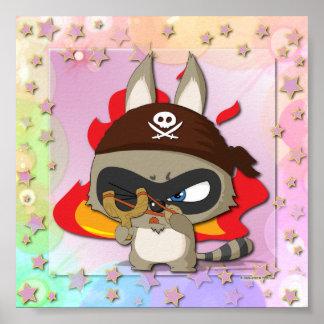 かわいいアライグマの海賊おもしろいな漫画のぱちんこWallart ポスター
