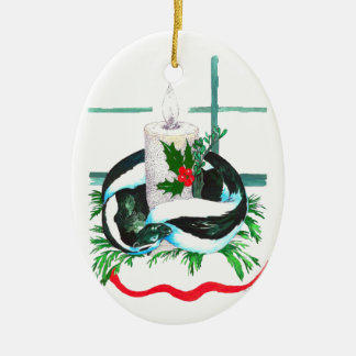 かわいいアラスカの野性生物のクリスマスの楕円形の木のオーナメント セラミックオーナメント