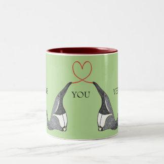 かわいいアリクイが付いているマグ愛して下さい ツートーンマグカップ