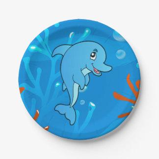 かわいいイルカの海の水生紙皿 ペーパープレート