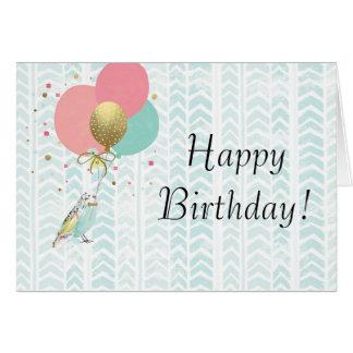 かわいいインコの誕生日の挨拶状 カード