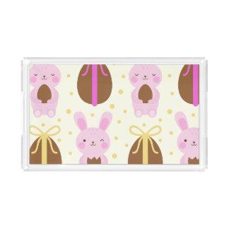 かわいいイースターのウサギおよびチョコレートの卵パターン アクリルトレー