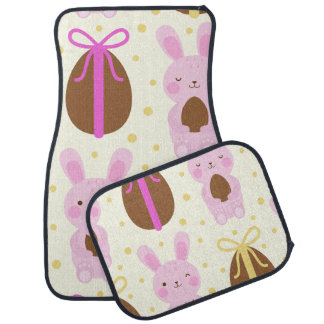 かわいいイースターのウサギおよびチョコレートの卵パターン カーマット