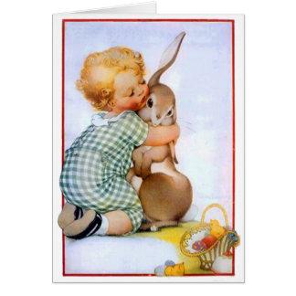 かわいいイースターのウサギの抱擁 カード
