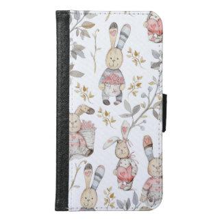 かわいいイースターのウサギの水彩画パターン GALAXY S6 ウォレットケース