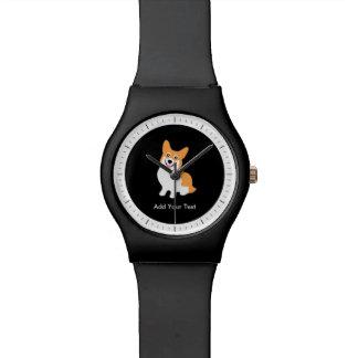 かわいいウェールズのペンブロークのコーギーの子犬 腕時計