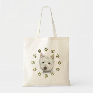 かわいいウエスト・ハイランド・ホワイト・テリアの犬および足 トートバッグ