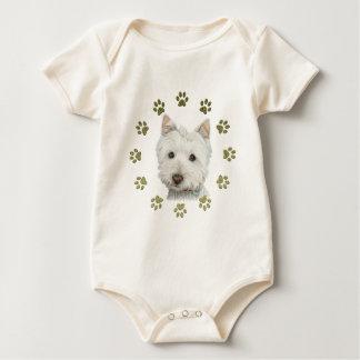 かわいいウエスト・ハイランド・ホワイト・テリアの犬および足 ベビーボディスーツ