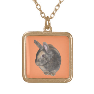 かわいいウサギの写真のネックレス ゴールドプレートネックレス