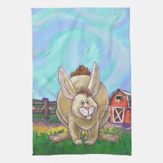 かわいいウサギ動物パレード キッチンタオル
