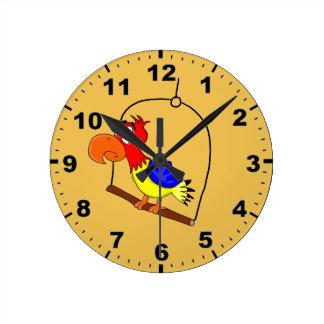 かわいいオウムのデザインの柱時計 ラウンド壁時計
