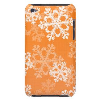かわいいオレンジおよびホワイトクリスマスの雪片 Case-Mate iPod TOUCH ケース
