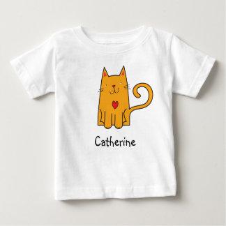 かわいいオレンジ猫の様式化された絵 ベビーTシャツ
