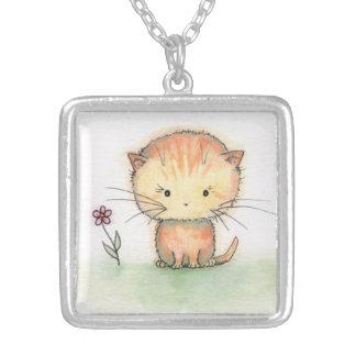 かわいいオレンジ虎猫の子ネコ猫のネックレス シルバープレートネックレス