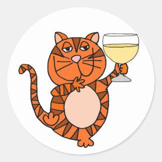 かわいいオレンジ虎猫猫の飲むワインの漫画 ラウンドシール