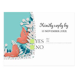 かわいいオレンジ鳥のorigamiの切り出しの結婚式 ポストカード