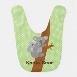 かわいいオーストラリアのコアラの水玉模様のベビー用ビブ ベビービブ