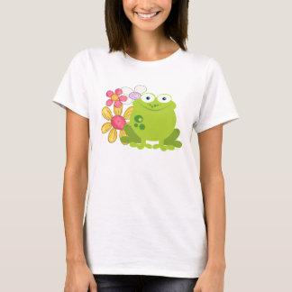 かわいいカエルおよび花 Tシャツ
