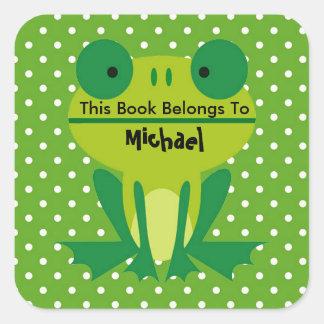 かわいいカエルのライムグリーンそして白く点々のあるな蔵書票 スクエアシール