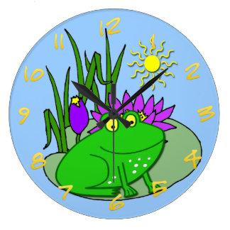 かわいいカエルの子供の円形の柱時計 時計