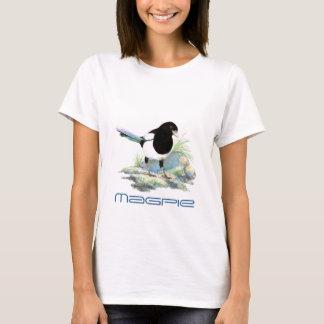 かわいいカササギの鳥、野鳥観察、自然、野性生物、庭 Tシャツ