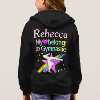 かわいいカスタマイズ名前入りな体育専門家の女の子のフード付きスウェットシャツ パーカ