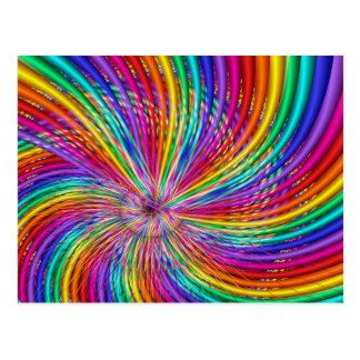 """かわいいカッコいいの抽象芸術パターン""""虹渦巻"""" ポストカード"""