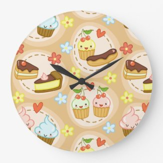 かわいいカップケーキおよびハート 壁時計
