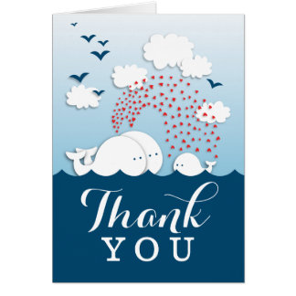 かわいいカップルの白いクジラはメッセージカード感謝していしています カード