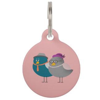 かわいいカップルの鳥の円形の大きいペットタグ ペット ネームタグ