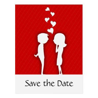 かわいいカップルは日付の結婚式の発表を救います ポストカード
