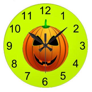 かわいいカボチャスマイルのハロウィンの柱時計 ラージ壁時計