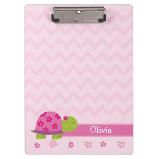かわいいカメのピンクの名前入りなクリップボード クリップボード