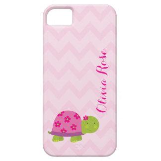 かわいいカメのピンクの名前入りなIphone5場合 iPhone SE/5/5s ケース