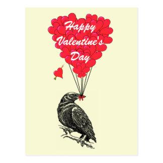 かわいいカラスのゴシック様式バレンタイン ポストカード