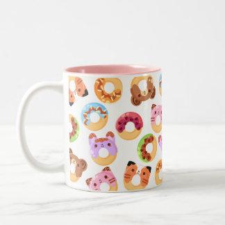 かわいいカラフルなドーナツ動物のマグ ツートーンマグカップ