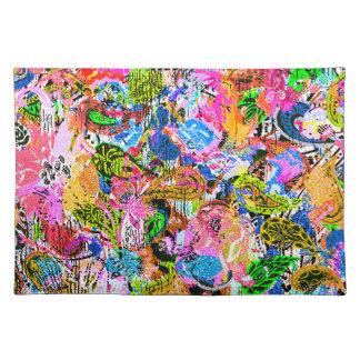 かわいいカラフルの抽象芸術の混合されたペーズリーの花 ランチョンマット