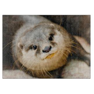 かわいいカワウソ、動物のポートレート、自然の写真撮影 カッティングボード