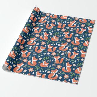 かわいいキツネおよび花の包装紙 ラッピングペーパー