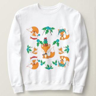 かわいいキツネのクリスマスのテーマパターンプリント スウェットシャツ