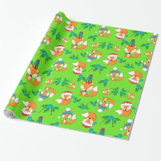 かわいいキツネのクリスマスのテーマパターンプリント ラッピングペーパー