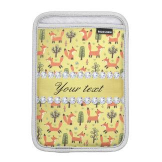 かわいいキツネの模造のな金ゴールドホイルのきらきら光るなダイヤモンド iPad MINIスリーブ