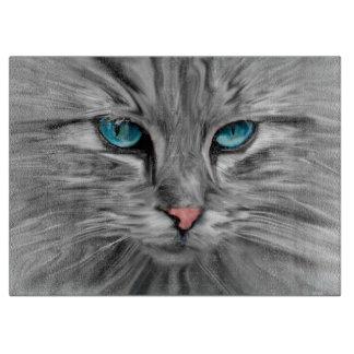 かわいいキャッツ・アイの顔水色の油絵の芸術 カッティングボード