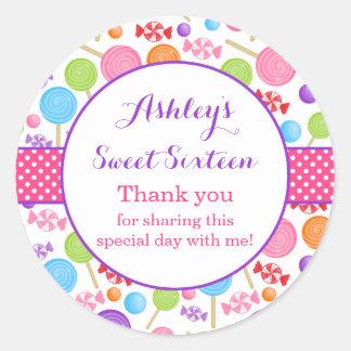かわいいキャンデーの菓子16の誕生会の好意 ラウンドシール