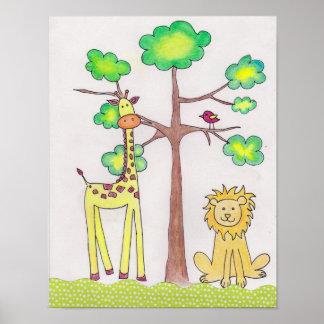 かわいいキリンのライオンのイラストレーションの子供部屋の芸術 ポスター