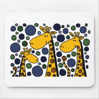 かわいいキリン家族の芸術の抽象芸術 マウスパッド