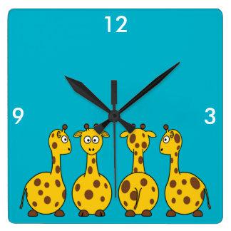 かわいいキリン、野生動物 スクエア壁時計